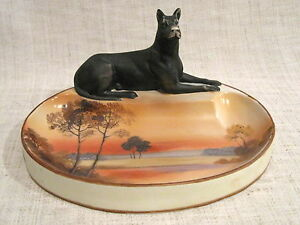 RARE Nippon Tree in the Meadow Figural Dog Ashtray