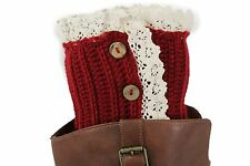 Women Boots Cover Topper Pair Red Winter Fabric Slip On White Crochet + Buttons