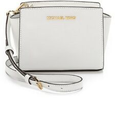 New Michael Kors Selma MD Messenger Crossbody Bag optic white saffiano leather