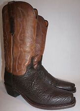 Lucchese Mens Chocolate Sanded Real Shark Skin Western Boots M3105.74 US 9.5 D