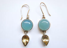 Sterling Silver Blue Round Chalcedony and Citrine Dangle Earrings