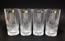 BOHEMIA SET OF 4 CRYSTAL DIAMOND CUT WATER BAR GLASSES 10 OZ- CZECH 24% PBO