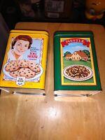 2 vintage Nestle Toll House Cookies tins very clean original cookie recipe