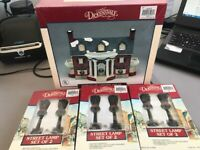 NEW 1991 Lemax Dickensvale Christmas 3x Street Lamps + Porcelain Lighted House