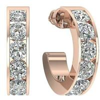 VVS1 E 1.20 Ct Natural Diamond Huggie Earrings Channel Set 14K Rose Gold 3.80mm