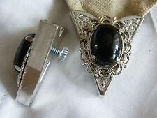 Nuevo par de consejos de cuello de ónice Negro Plata Metal, goth, Western, señoras, Para Hombre
