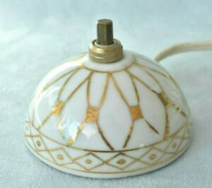 Vintage White & Gold French Hollywood Regency Porcelain Lamp Switch Bell Push