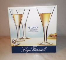 "FOUR (4) LUIGI BORMIOLI ITALY CONICA CRYSTAL WINE GLASSES 7 3/4"" NIB 9 1/8 OZ"