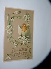 ANTIQUE EASTER GREETING POSTCARD best wishes CHICK IN EGG