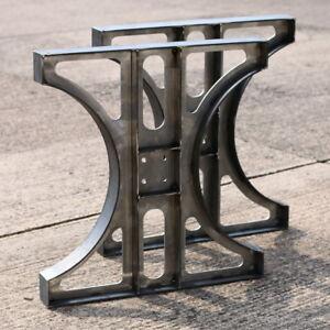 Tischgestell Tischbein im Industriedesign 2 Stück Rohstahl Stahl Tischunterteil