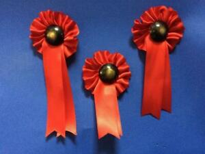 SET OF THREE RED ROCKING HORSE ROSETTES FOR NEW HORSE / ANTIQUE TOY RESTORATION