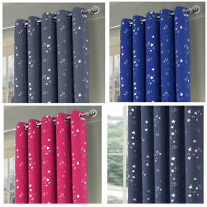Stars Boys&Girls Bedroom Blackout Eyelet Ring Top Curtains (Pair of) Ready Made