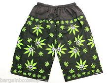 Mens Cannabis Weed Skull Leaf Board Shorts With Pocket Unisex Freesize Rasta