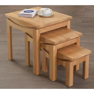 Crescent Oak Living Room Furniture Nest Of Three Coffee Tables Set