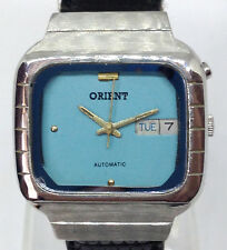 Vintage Men's ORIENT Automatic Watch. 35mm Blue Dial. Day and Date. OS469C704C