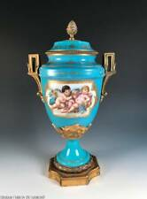 Antique French Sevres Style Enameled Porcelain Urn Vase ~ Cherubs and Flowers