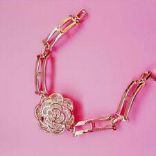 Floral Block Bangle Bracelet 2.5cm*2.5cm 18K Ct Yellow Gold Filled Crystal