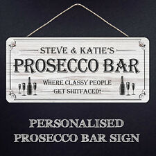 Personalised Large Prosecco Bar Sign | Hanging Metal Plaque Gifts, Mancave, Bar