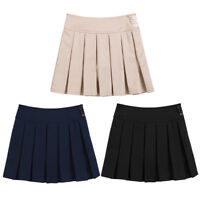 Kids Girls Pleated School Uniform Skirt Bowknot Scooter Skirt With Hidden Shorts