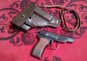 Vintage Cigarette Lighter GUN Star Red Handmade Soviet ИТК  Makarov PM +holster!