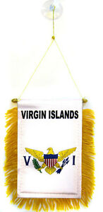 "Virgin Islands Mini Flag 4""x6"" Window Banner W/ Suction Cup"