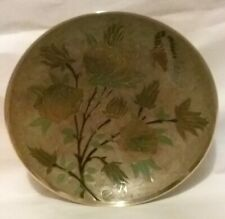 Vintage Decorative Brass Bowl with intricate Floral design, Hand Painted India