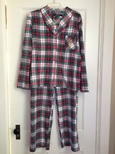 RALPH LAUREN Red Black Cream TARTAN PLAID FLEECE WOMENS PAJAMAS 2PC XL