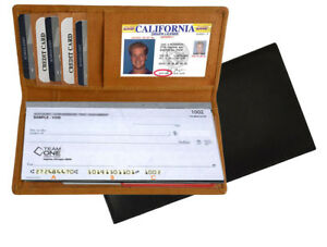 Genuine Leather Checkbook Cover Thin Wallet Credit Card ID Organzier Men Women