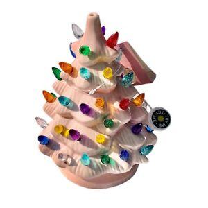 Christmas tree decor pink ceramic multicolored lights battery powered