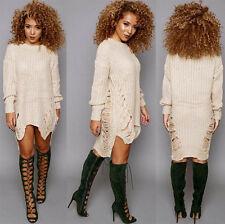 Neu Modischer Damen Oversize Pulli Pullover Strick Kleid Strickjacke Long