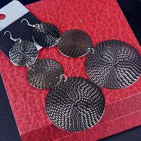 1 Pair Modern Big Shine Round Design Dangle Fashion Hook Earrings Jewelry Gift