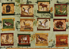 "28"" X 44"" Wilderness Park Animals Wildlife Camping Cotton Fabric Panel D768.15"