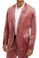 INC Mens Blazer Dusty Rose Pink Size XL Slim Fit Velvet Two-Button $149- 082