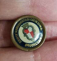 Antique Kingdom of Italy Gaeta Society Brooklyn NY Celluloid Screw Button Pin