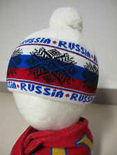 """Russian white red blue Hat RUSSIA with Pom Pom 22"""" Шапка Россия с помпоном"""