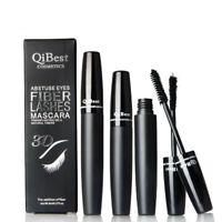 Qibest 3d Fiber Lashes Cosmetics Black Double Lash Eyelash Waterproof 2015 New