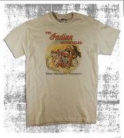 Vintage Indian U.S.A.Motorcycles Classic Biker Distressed Print Natural T-Shirt