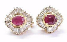 18kt Gema Rubí y Diamante Oro Amarillo Bailarina Pendientes 6.21CT
