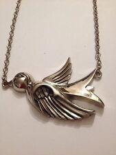 Bird Pendant Necklace (G528) Rock Rebel Silvertone Big Swallow