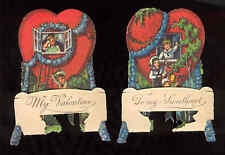 2 Vintage German Valentines Die-Cut Fold-Down Boys Boat