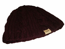 Abercrombie Fitch Maroon Cable Cashmere Blend Beanie Hat Cap