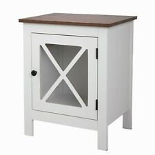"""Jaxsunny 23.62""""H Accent Cabinet Wood End Table w/ Glass Door for Bedroom Office"""