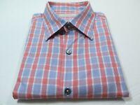 Ermenegildo Zegna Mens Cotton Pink Blue Check Plaid Italian Casual Shirt XXL 2XL