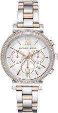 Nuevo Michael Kors MK6558 Sofie Cronógrafo Crystal Silver Dial Reloj de Mujer