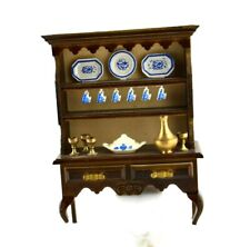 Vintage Doll House Miniature Furniture China Hanging Cups Cabinet Brass Goblets
