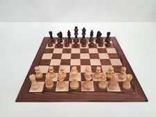 Chess Set - 40cm Walnut Board With Weighted 80mm Wooden Pieces.