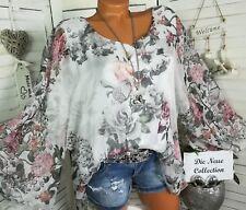 Italy Schicke Damen Volant Bluse Tunika Blumen Weiß Rosa Grau 38 40 42 M L XL