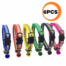 Funpet 6 Pcs Breakaway Cat Collar with Reflective Nylon Strip and Bell, Safe and