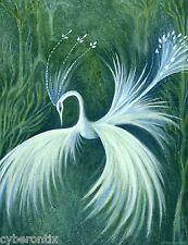 Wall Art Print White Phoenix Fantasy Forest Bird 11x8 Enchanted Images Artist