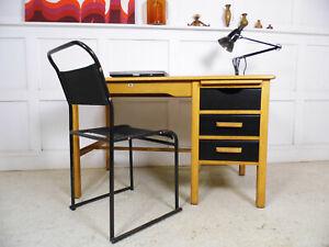 Vintage Retro Light Oak Office DESK by Bell Furniture MCM 1950s home office desk